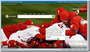 Phillies celebrate the 2008 World Series win on Live.com