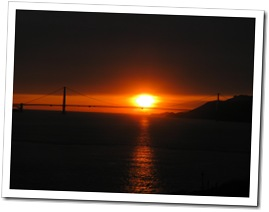 The Golden Gate Bridge in the setting sun