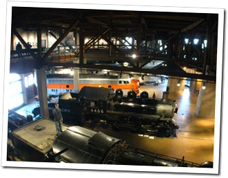 Looking down into the California State Railroad Museum