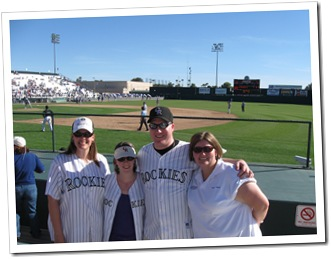 Lauren, Cora, Andrea, and I enjoying Spring Training