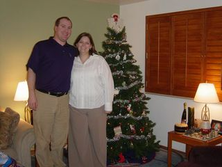 Andrea and I with our Christmas Tree