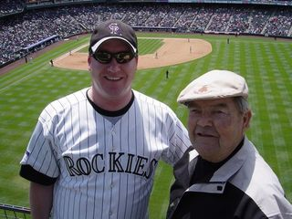 Grandpa and I at Coors Field on May 8, 2008