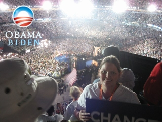 Andrea at Barack Obama's acceptance speech at Invesco Field - August 28. 2008