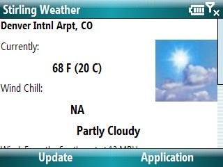 Stirling Weather Screenshot - Current Conditions