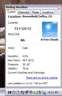 Stirling Weather Tray - Current Conditions