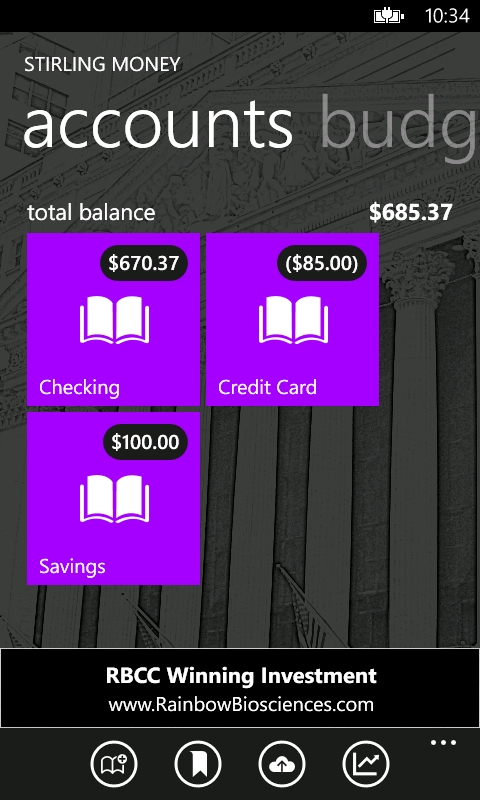 Stirling Money Screenshot - Accounts Screen